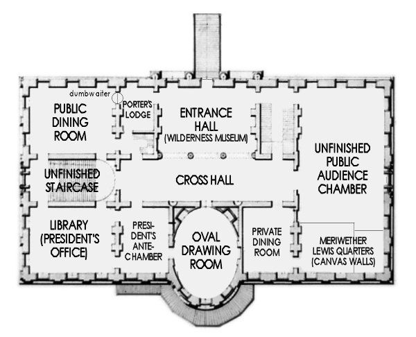 Thomas Jefferson S House First Floor In 1803 White House Interior White House Washington Dc House Floor Plans