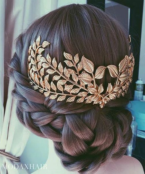 Low Braided Bun With Hair Accessories Cute And Elegant Hair Styles Hair Jewelry Trendy Wedding Hairstyles