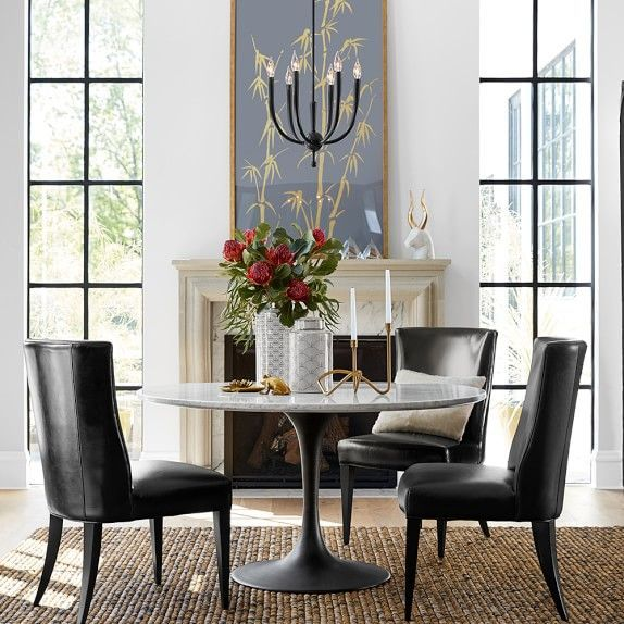 Dining Room Furniture At Williams Sonoma: Leather Chairs U0026 Saarinen Style  Table
