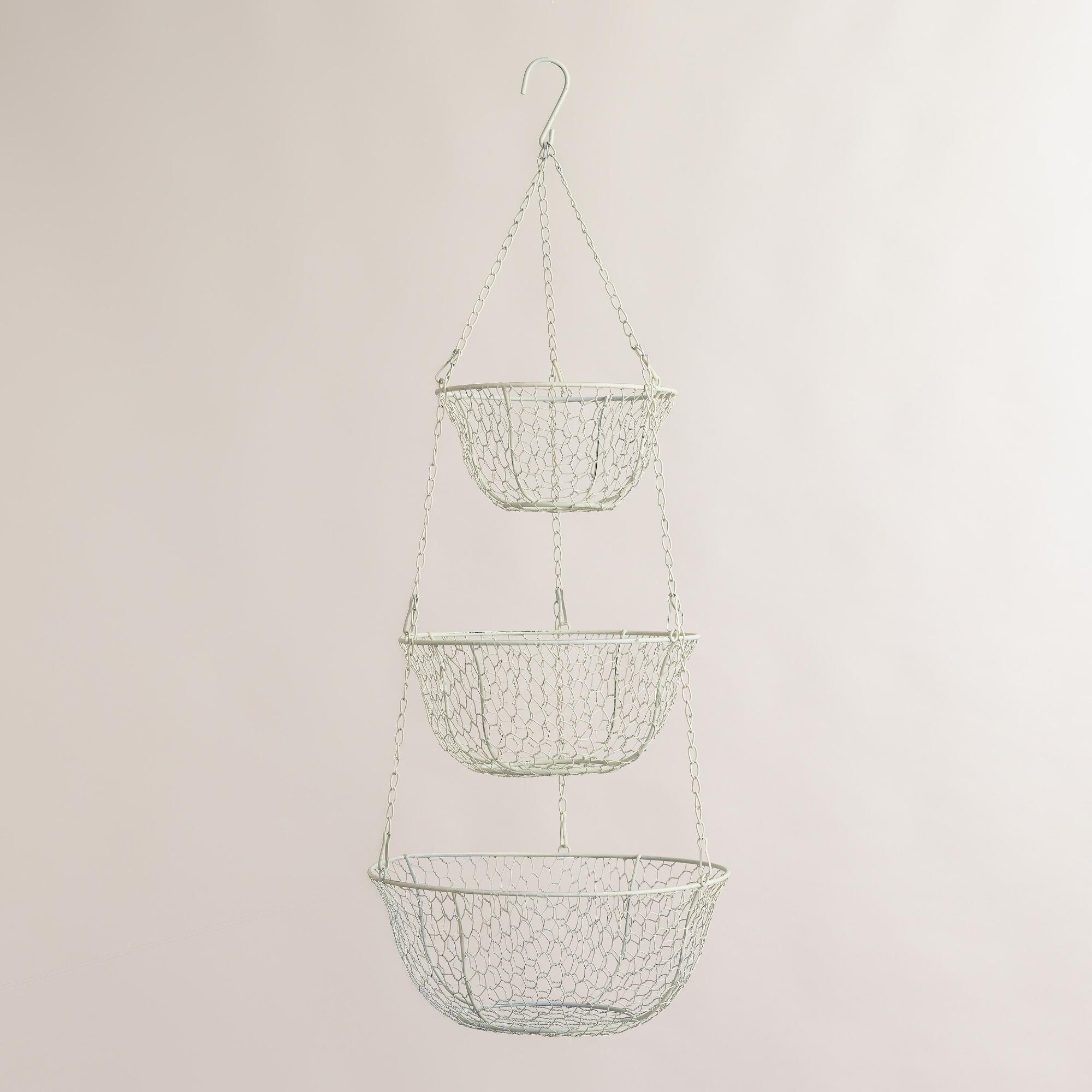 World Market - Antique White Wire Three-Tier Hanging Basket $14.99 ...