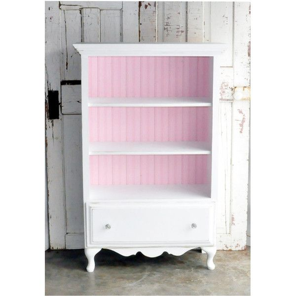 Bookcase With Drawer In Distressed White And Pink Via