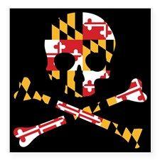 Maryland Flag Skull Black Sticker for