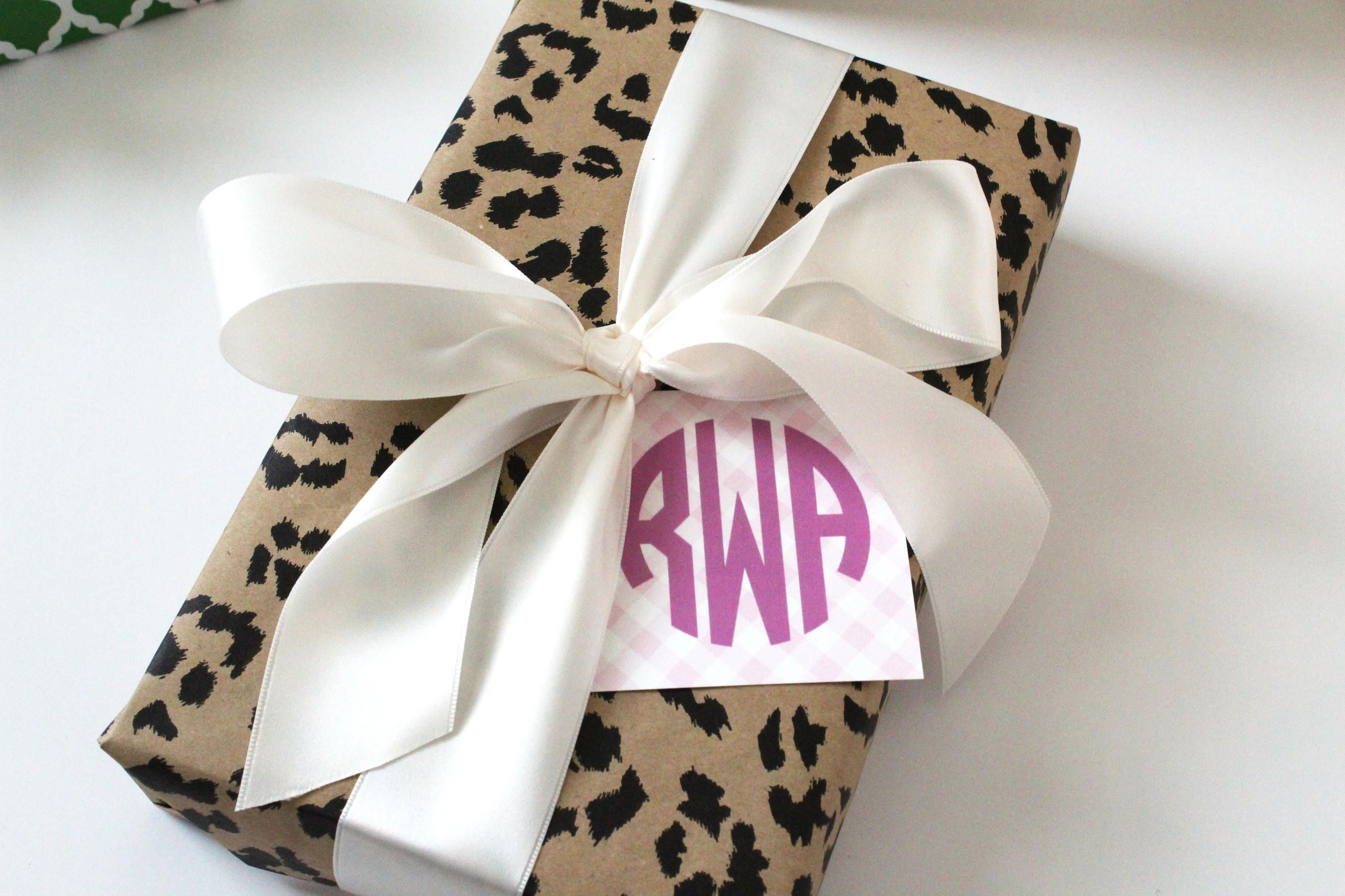 Monogrammed Gift Tags Gingham Tags Enclosure Cards Simple