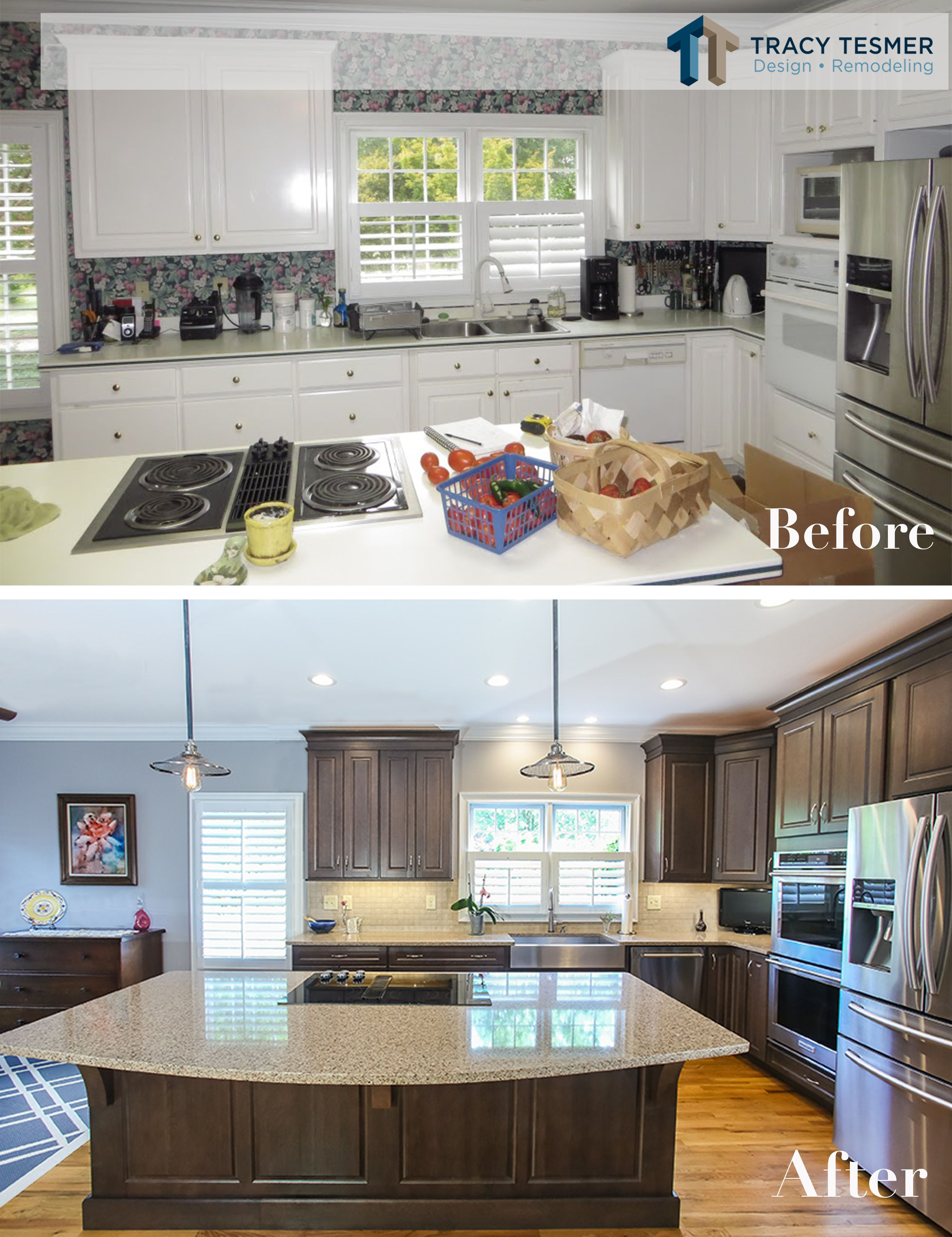 Nothing Like A Good Kitchen Update Here We Got Rid Of The 90 S Wallpaper And White Cabinets And Bro Home Remodeling Contractors Kitchen Design Home Remodeling