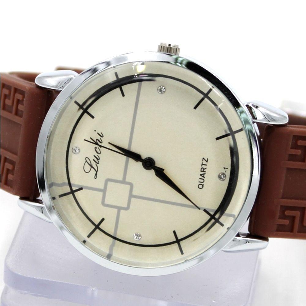 FW824E Round PNP Lesklý strieborný plášť hodiniek Silicone Brown Band Pánske módne hodinky