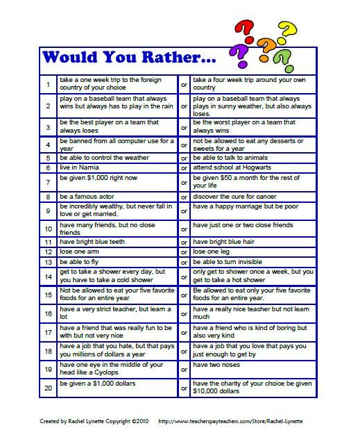 questions for kids downloaded for free from here httpwwwteacherspayteacherscomproductfree would you rather questions for kids by rachel lynette