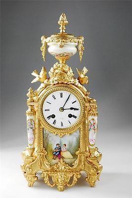 Antique Gilt Metal White Sevres Porcelain Panel 8 Day Mantel Clock Antique Clocks Vintage Clock Clock