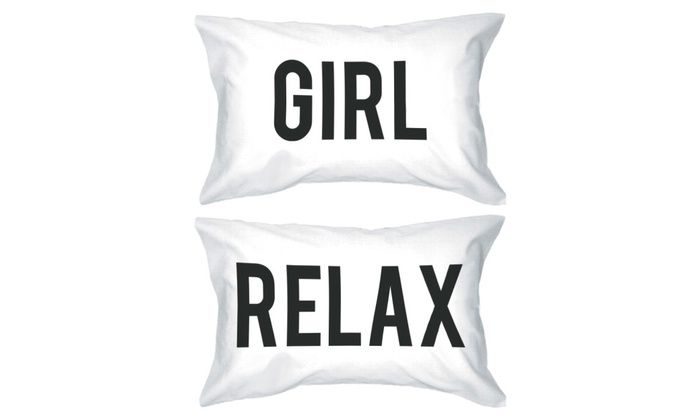 Bold Statement Pillowcases 220-Thread-Count Standard Size 20 x 31 - Girl Relax | Groupon