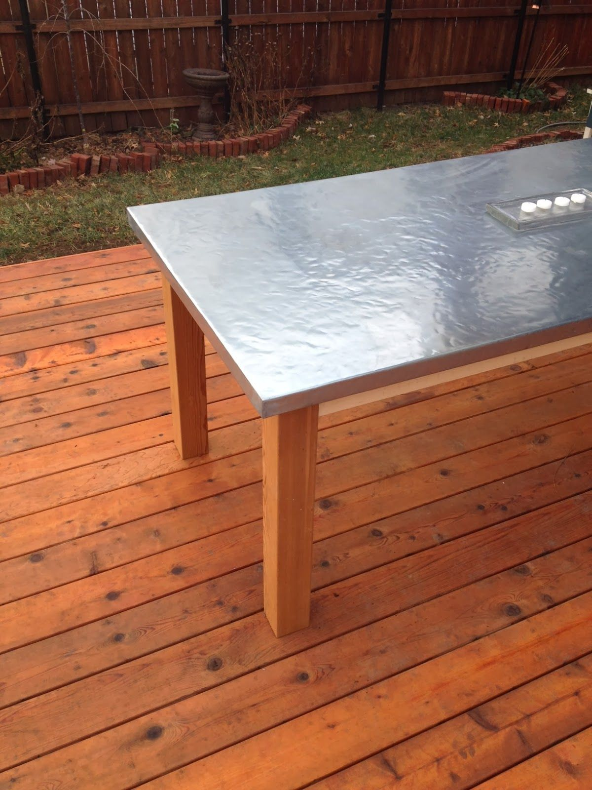 How To Make A Diy Outdoor Zinc Table Diy Outdoor Table Zinc Table Outdoor Table Tops