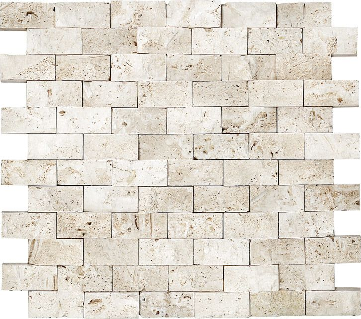 "Split Face Stone Mosaic Ivory Travertine 1""x2"" (Tumbled"