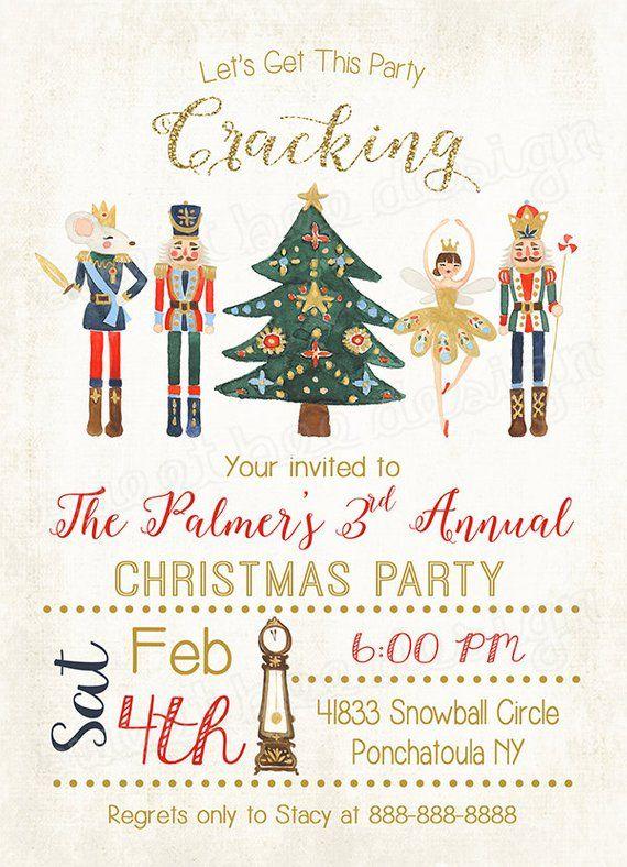Nutcracker Invitation Christmas Party Invitation Christmas Invite Cracking Invitation Christmas Party Invitations Christmas Invitations Holiday Invitations