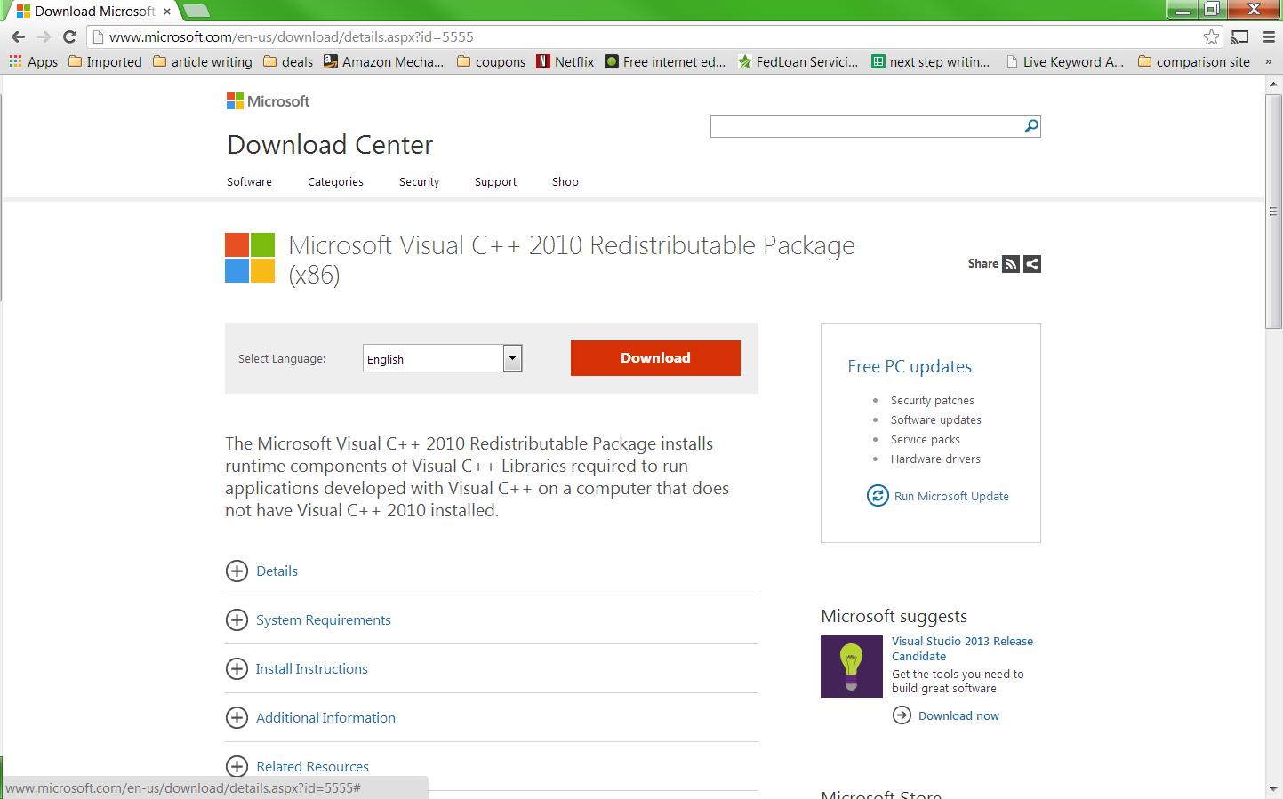 Запуск программы невозможен так как отсутствует msvcp100. Dll windows 7.