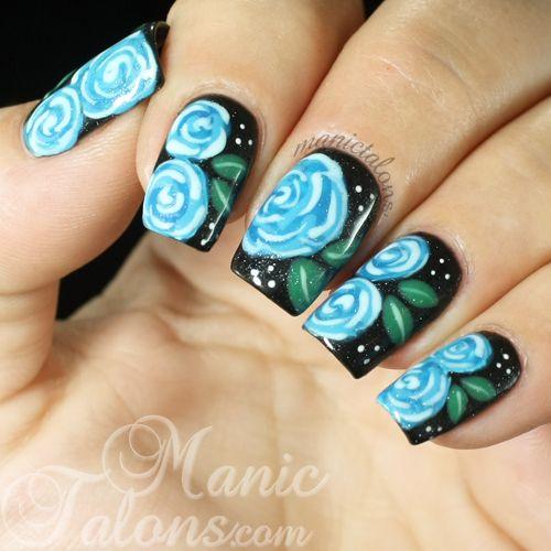 Manic Talons Gel Polish And Nail Art Blog Blue Roses On Black Rose Nail Design Rose Nails Nail Art Blog