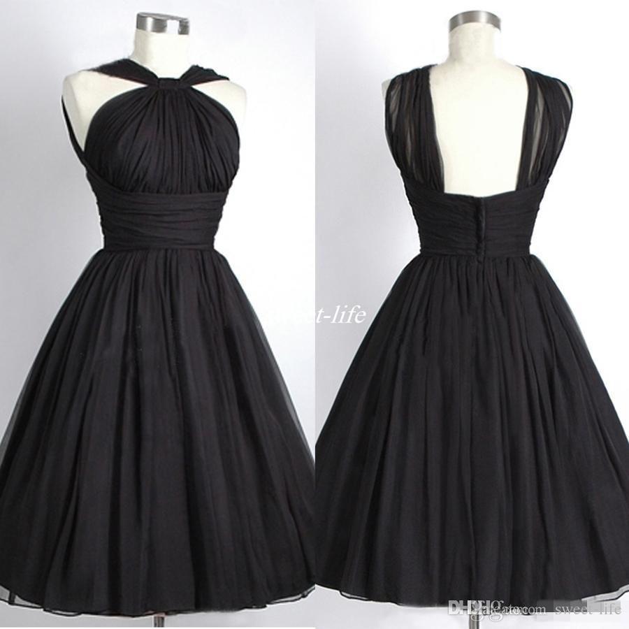 Black short bridesmaid dresses 2016 halter sleeveless for Halter empire waist wedding dresses
