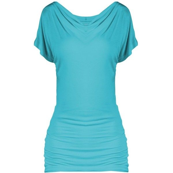 SEJORA Boatneck Convertible Short Sleeve Dolman Tunic Top Many Colors... ($17) ❤ liked on Polyvore featuring tops, tunics, dolman tunic, blue top, boatneck top, boat neck tunic and blue tunic