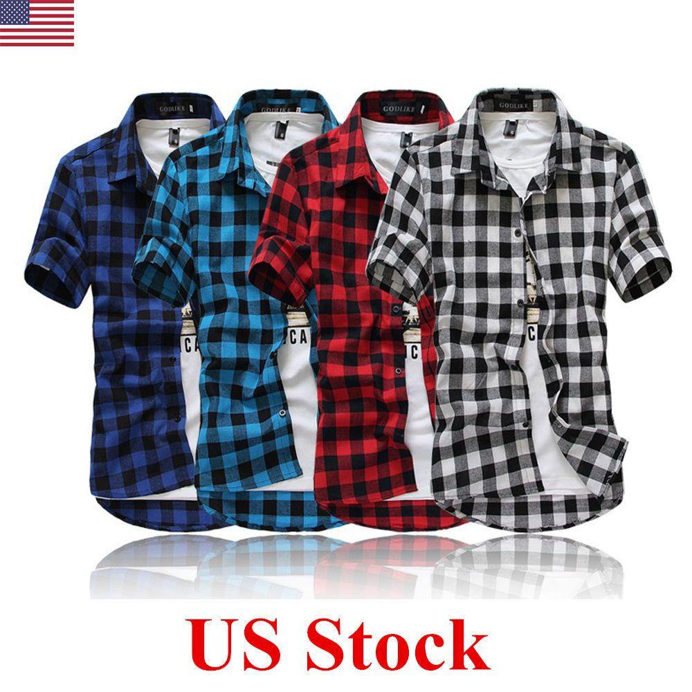 147985faa123 US Stylish Mens Plaid Check Short Sleeve Casual Shirt Slim Fit T-Shirt Tee  Tops