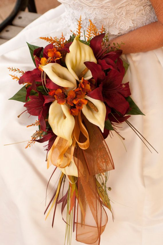 Bride Fall Wedding Bouquet Ivory Orange Red Rose And Calla Lily 12
