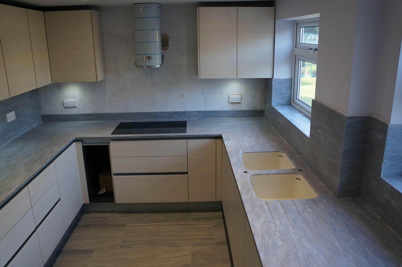 Corian kitchen worktops in juniper designed by excelsior for Corian competitors