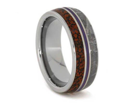 Gibeon Meteorite Wedding Band Dinosaur Bone Ring With Purple Enamel Men Or Women S Anium Commitment Jewelry