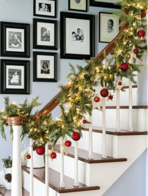 easy 2016 christmas stairway decorating ideas dangle ornaments baubles and stars look just as good hanging from garland as they do on the tree