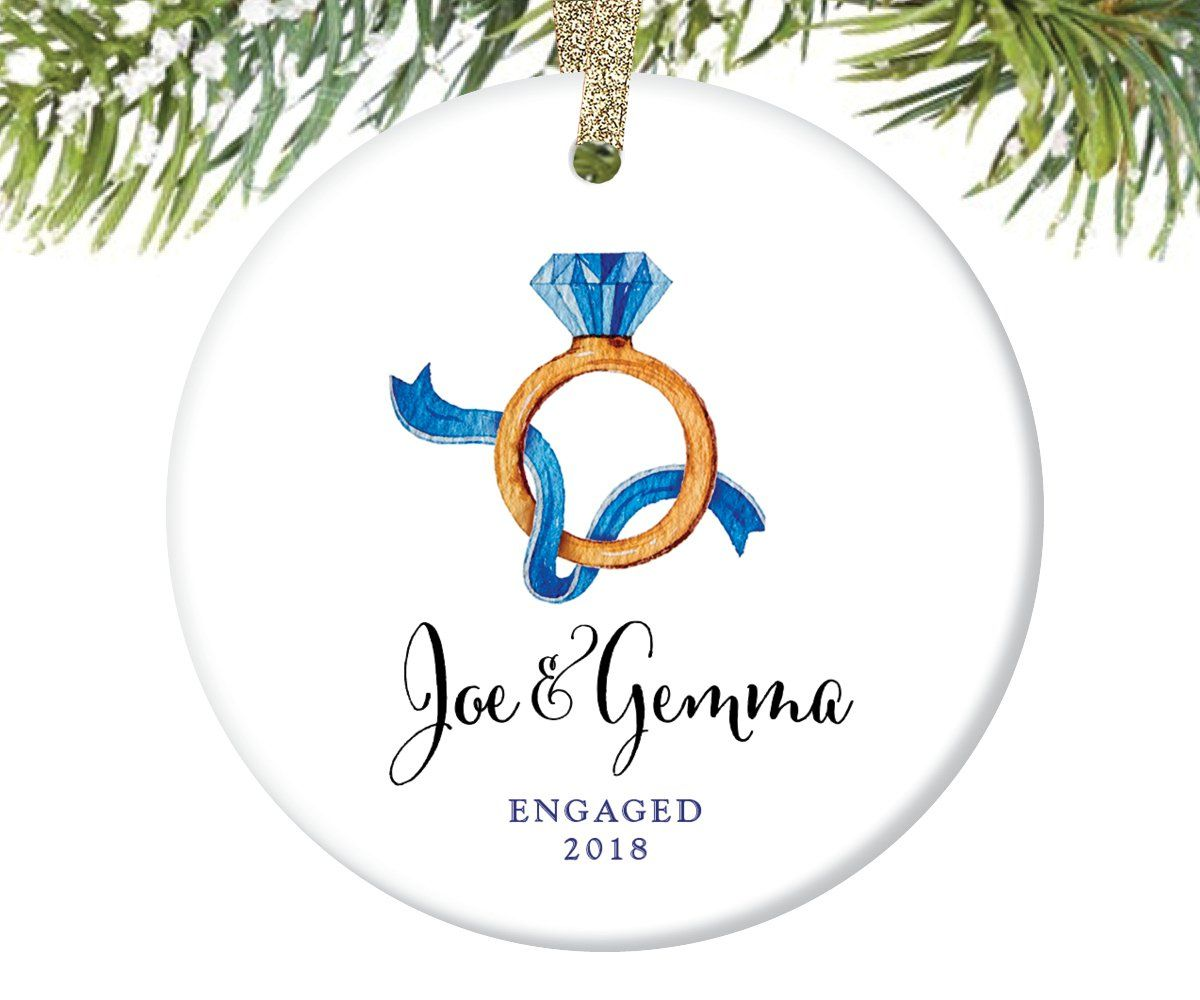 Engagement ring christmas ornament personalized in