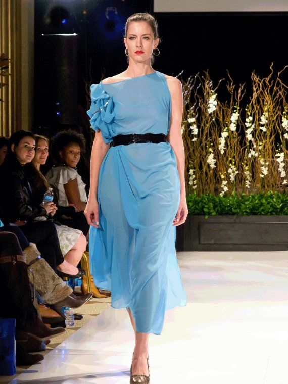 Designer dress, summer long/short dress, chiffon, custom made