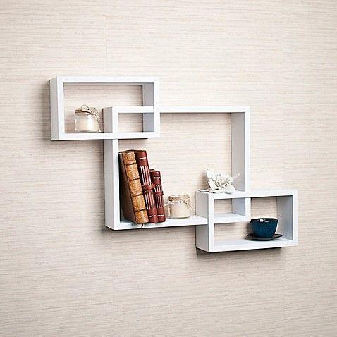Danya  intersecting wall shelf in laminated white also craft ideas for kitchen decor movie korean rh pinterest