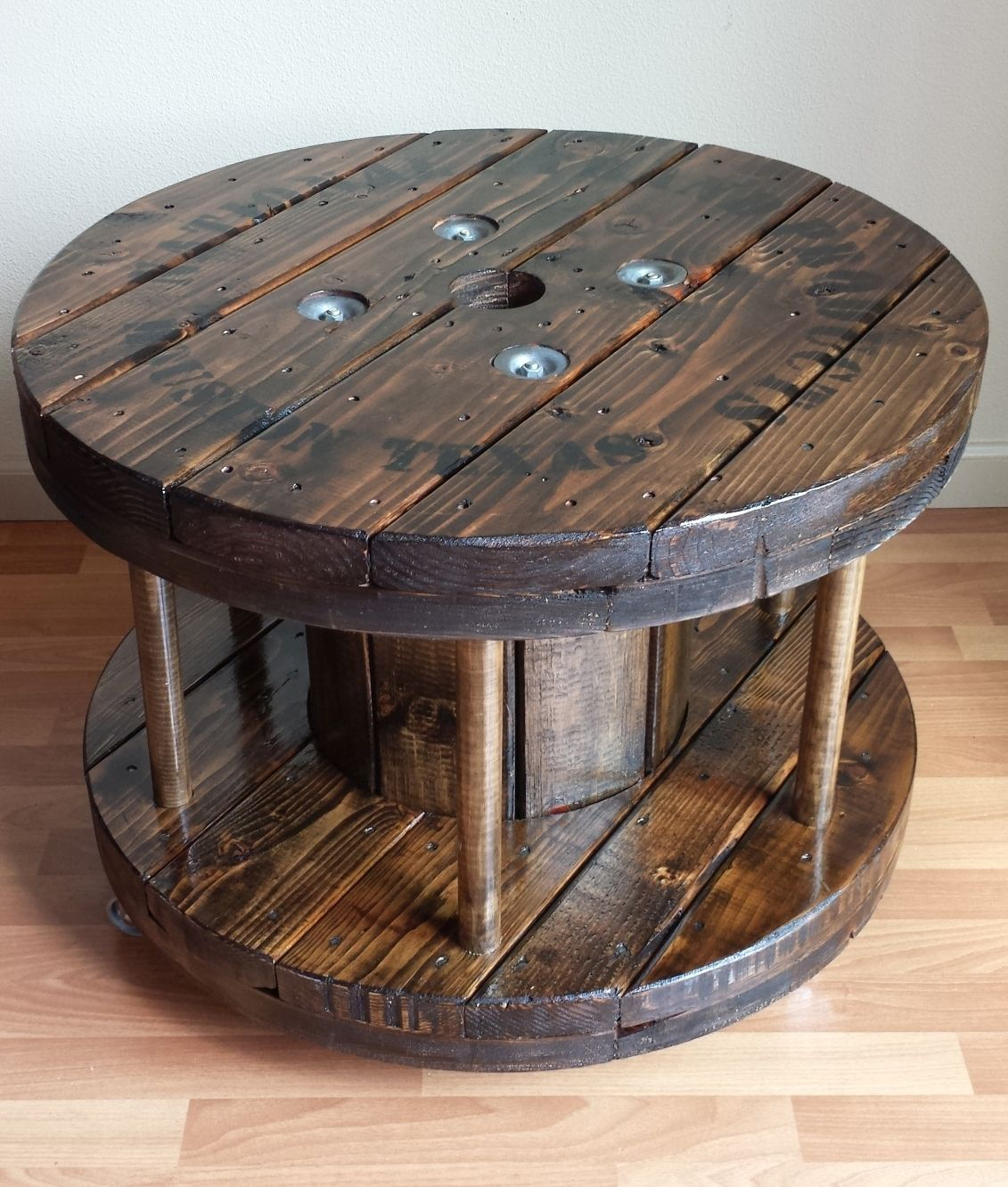 Reclaimed Factory Cable Spool Coffee Table Bookshelf With Wood Dowels On Casters