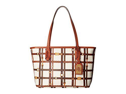Ralph Lauren Gallaway Shopper Tote Handbag Cream/Brown Color