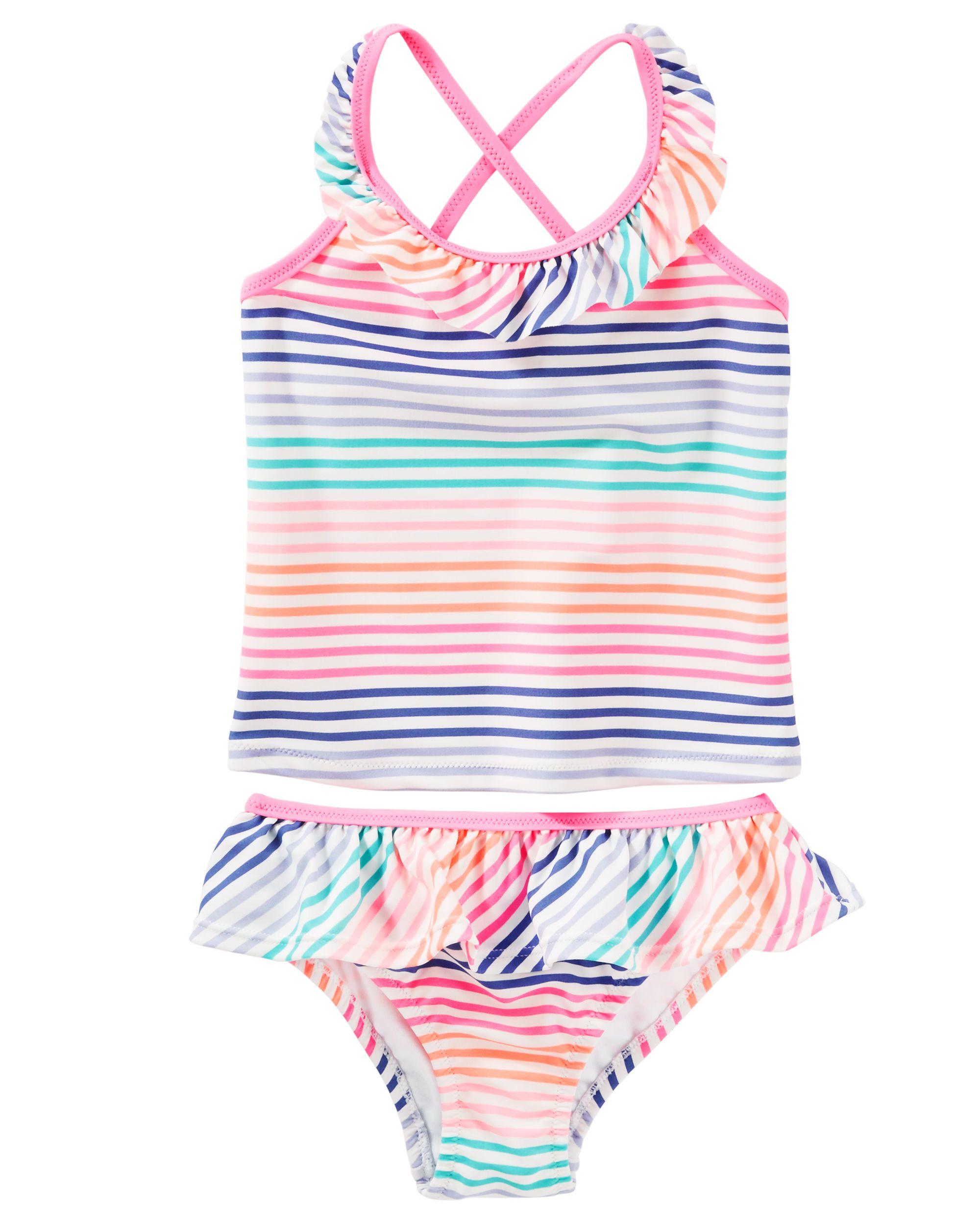 OshKosh Little Girls Striped Ruffle One Piece Swimsuit 3t