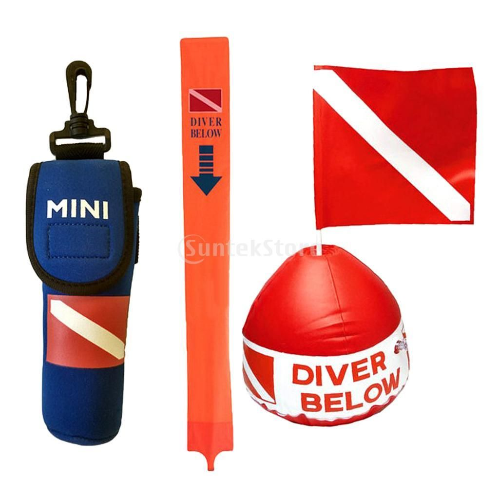 Underwater Scuba Diving Snorkeling Inflatable Buoy Float Signal Diver Down Flag With Surface Buoy Marker Yellow Line Diver Down Diving Diver