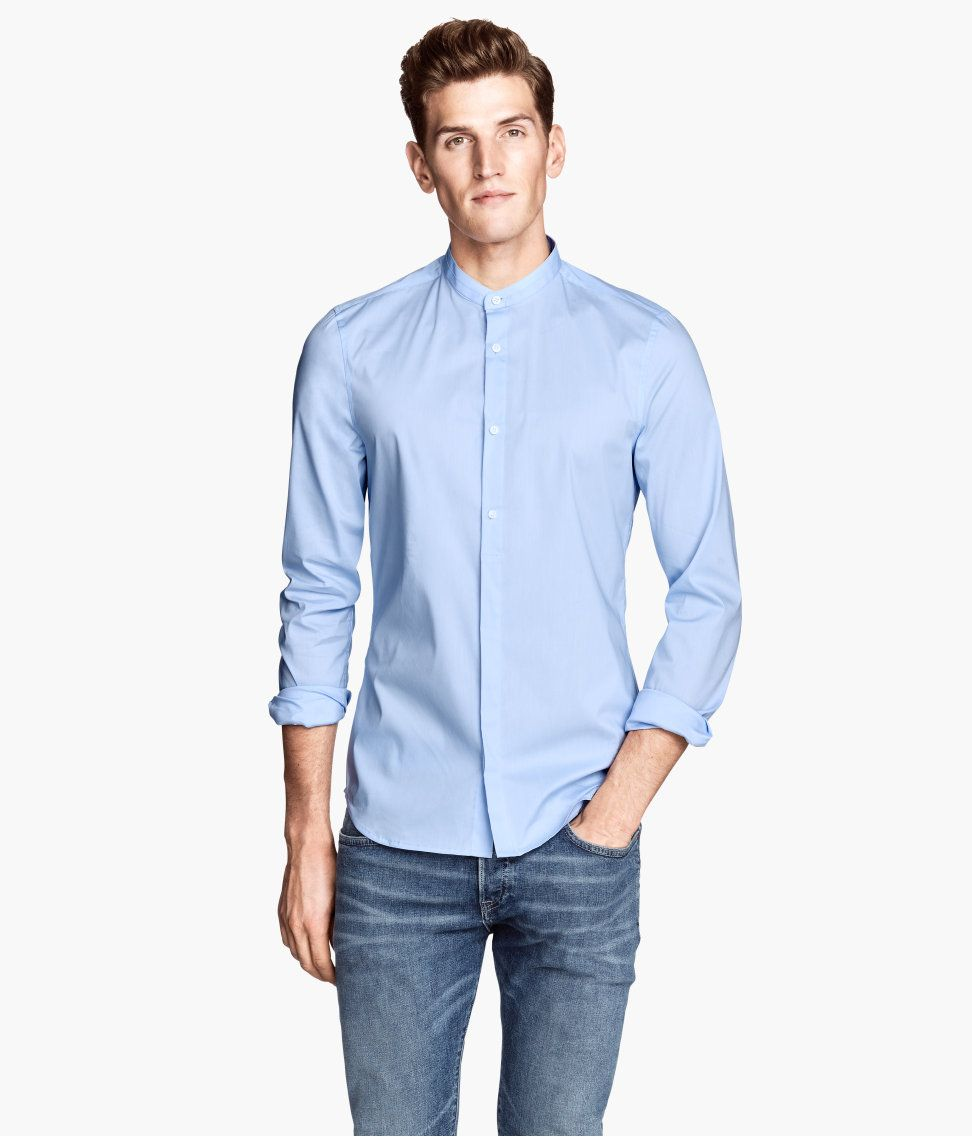 62f94fff266a5 H&M - Mandarin Collared Shirt | Men's Fashion | Blue shirt dress ...