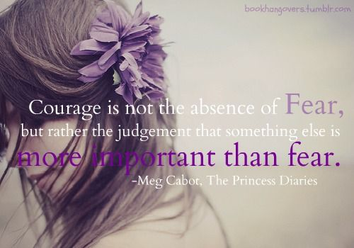 "A Brave New Adventure: Brave part 1: Overcoming Fear  ""Courage is not the absence of Fear, but rather the judgement that something else is more important than fear."" - Meg Cabot"