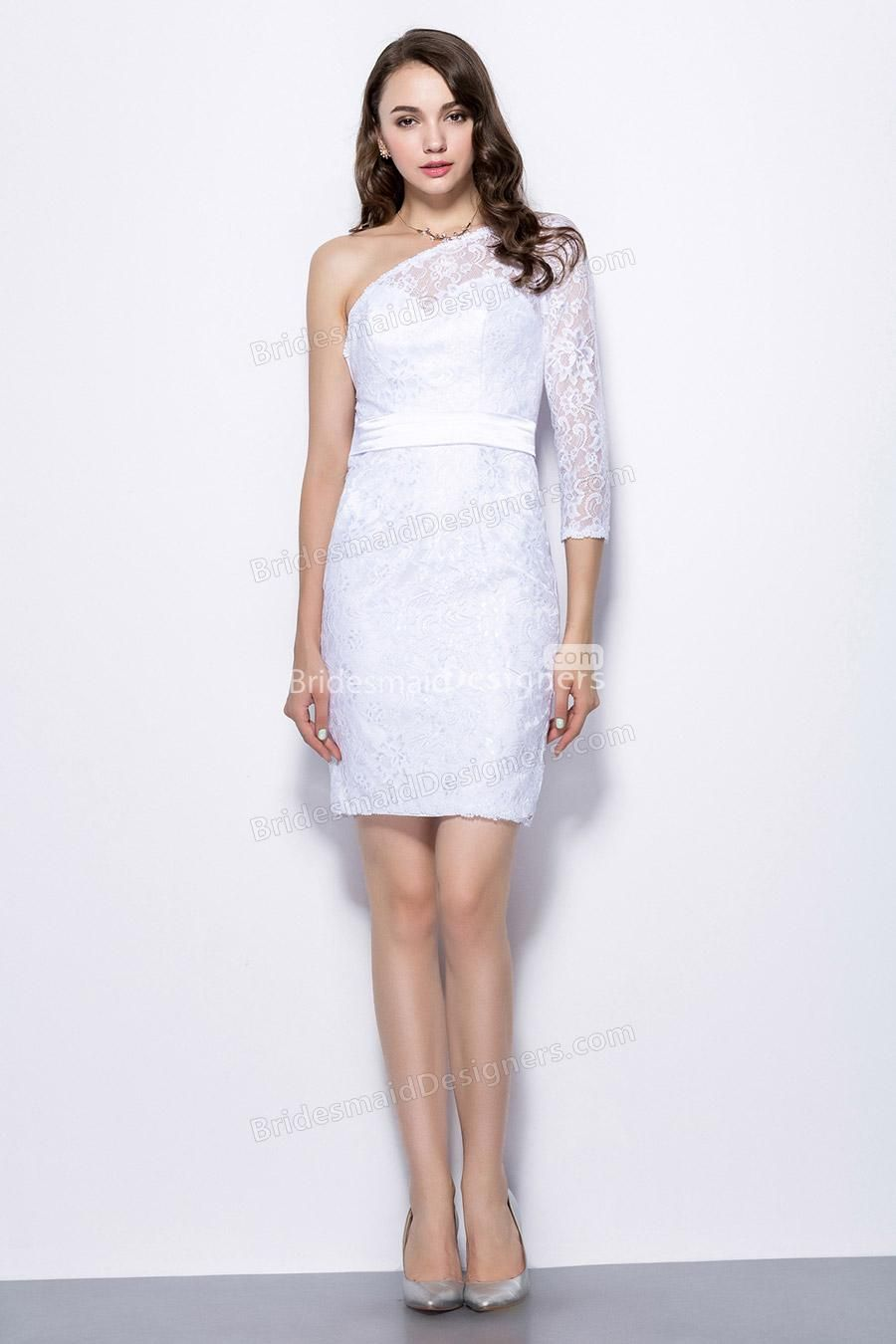 One shoulder sheath short white lace bridesmaid dress with sheer