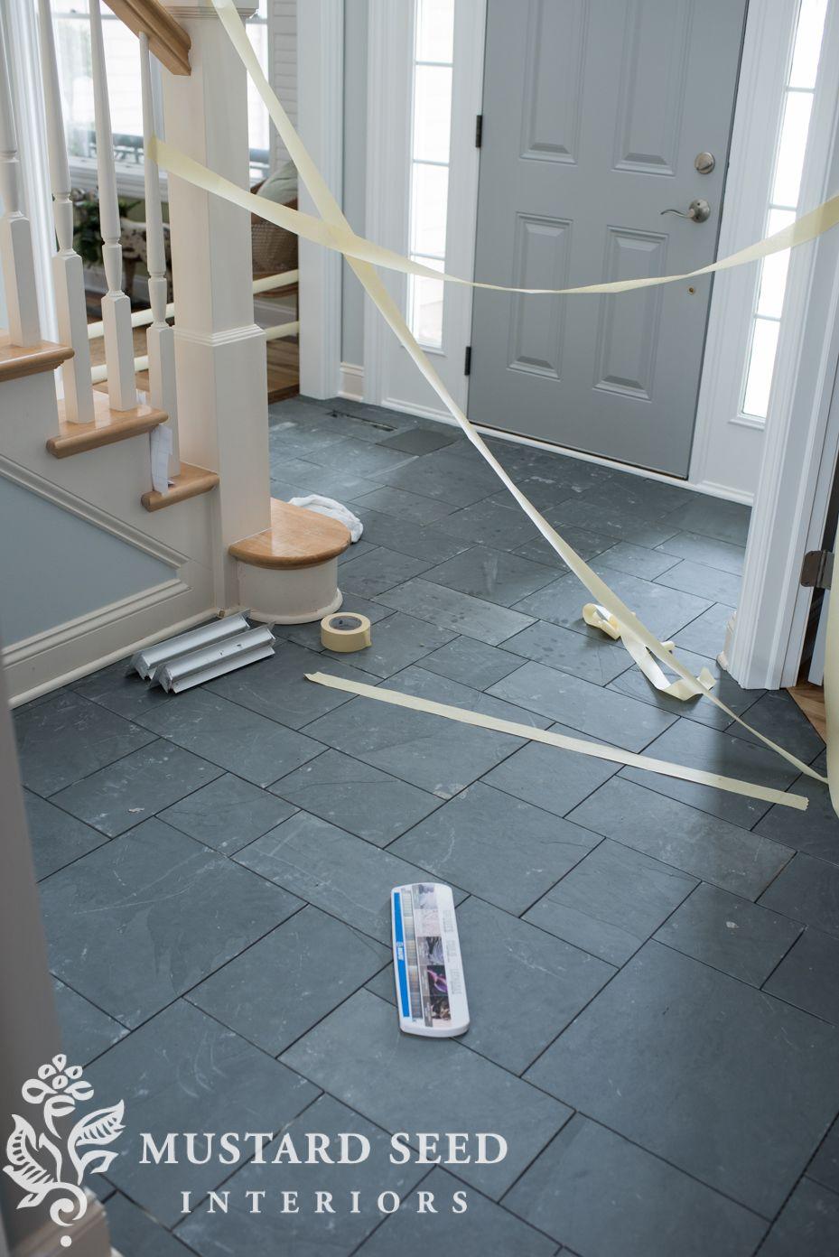 Montauk Blue Slate Tile In The Foyer Miss Mustard Seed In 2020 Blue Tile Floor Foyer Flooring Entryway Tile
