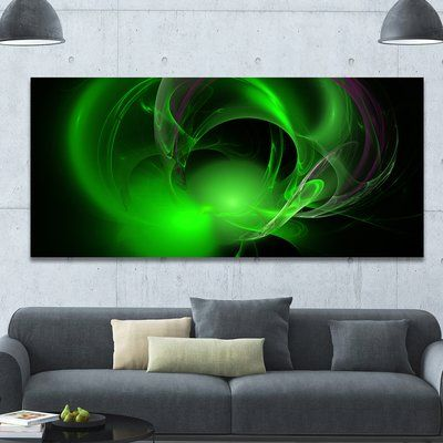 "DesignArt 'Green Galactic Nebula on Black' Graphic Art on Wrapped Canvas Size: 28"" H x 60"" W x 1.5"" D"