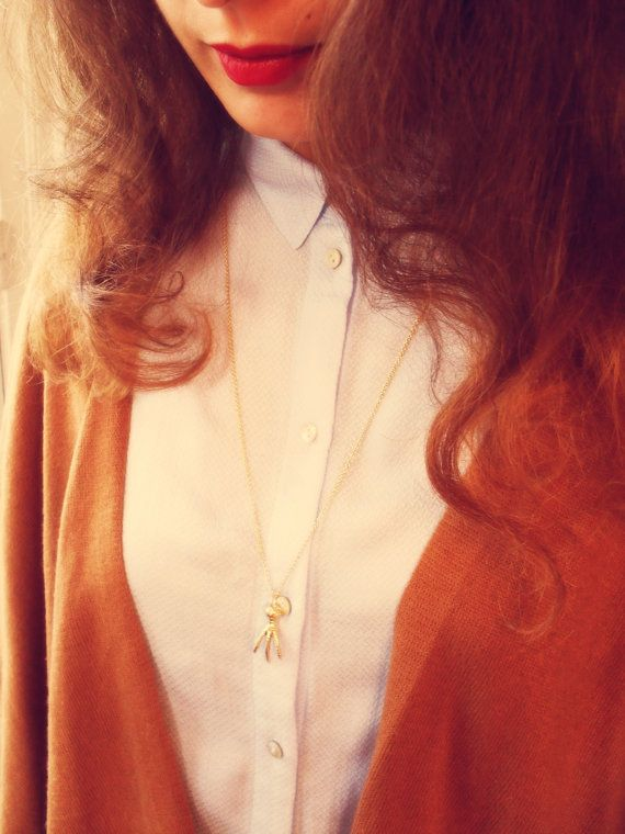 Long necklace in gold filled. Bird leg. par Lageometriejewels