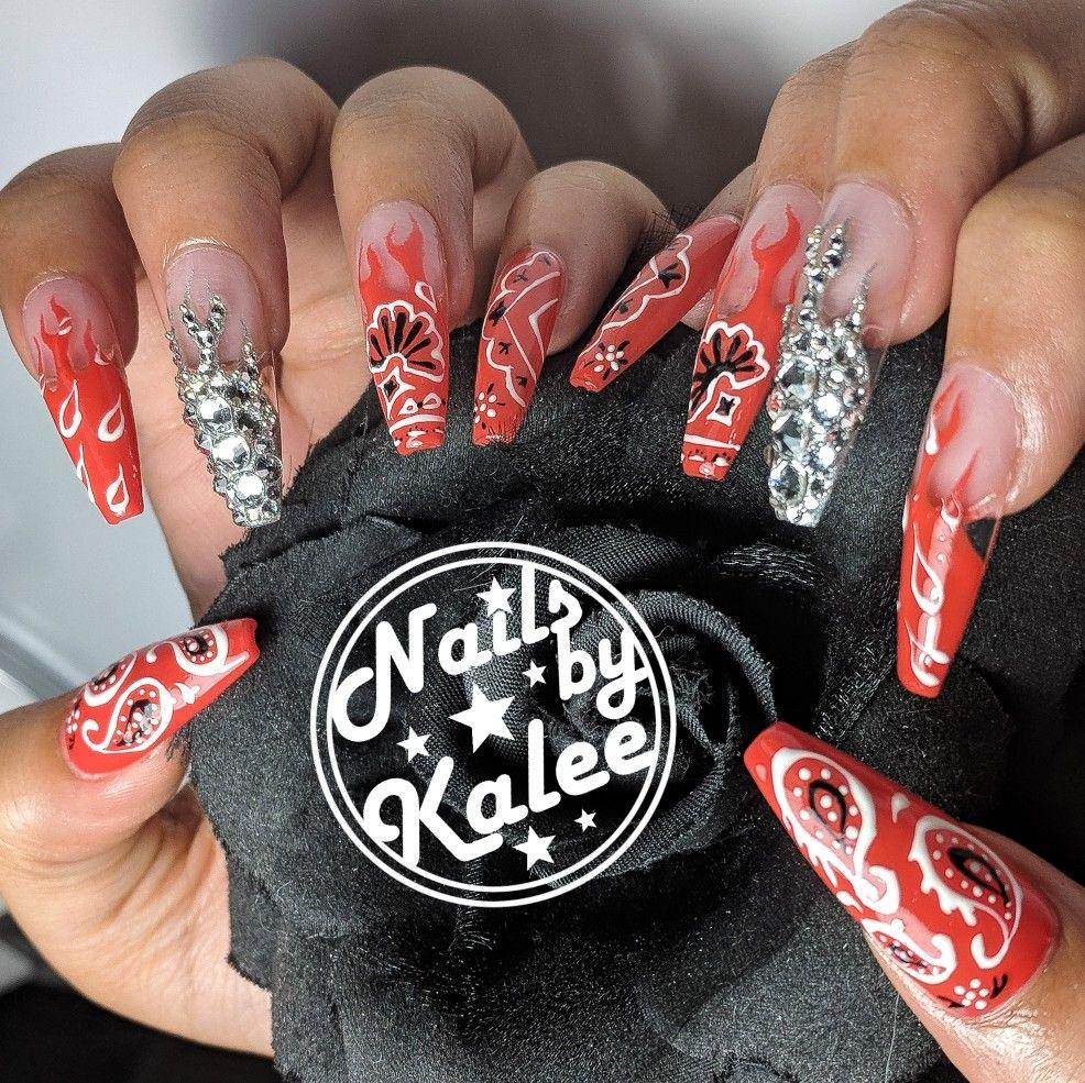 Red Bandana Flame Swarovski Fire Nail Art Design Chic Nails Ghetto Nails Red Acrylic Nails