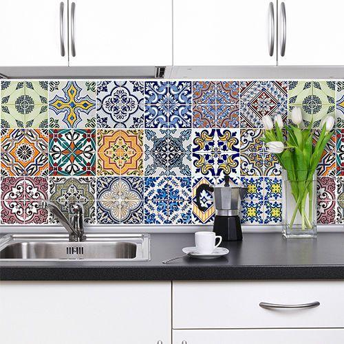 PS00002 Adesivi murali in pvc per piastrelle per bagno e cucina Stickers design