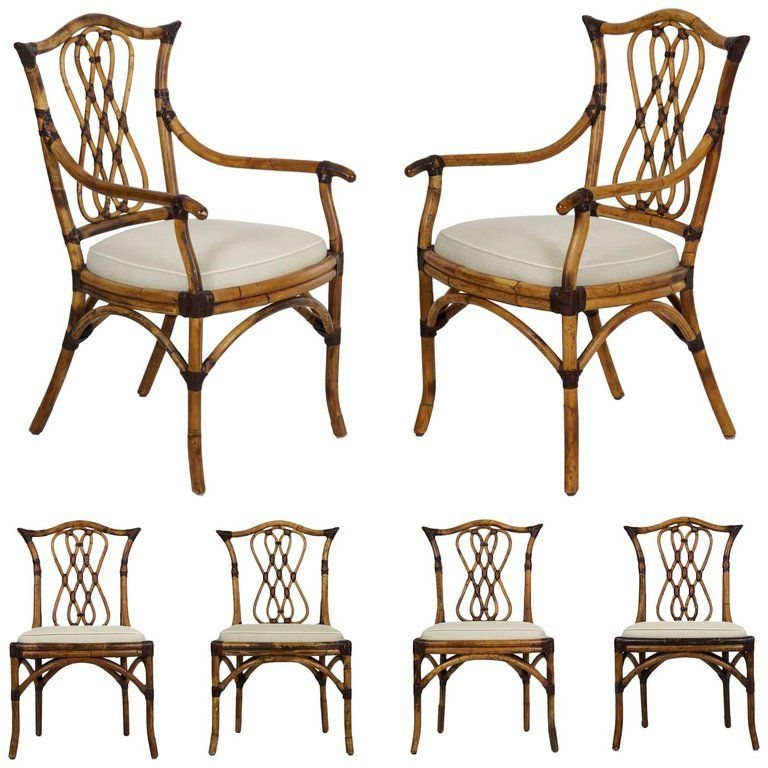 Excellent Set Of Six Pierce Martin Leather Bound Rattan Dining Chairs Gmtry Best Dining Table And Chair Ideas Images Gmtryco