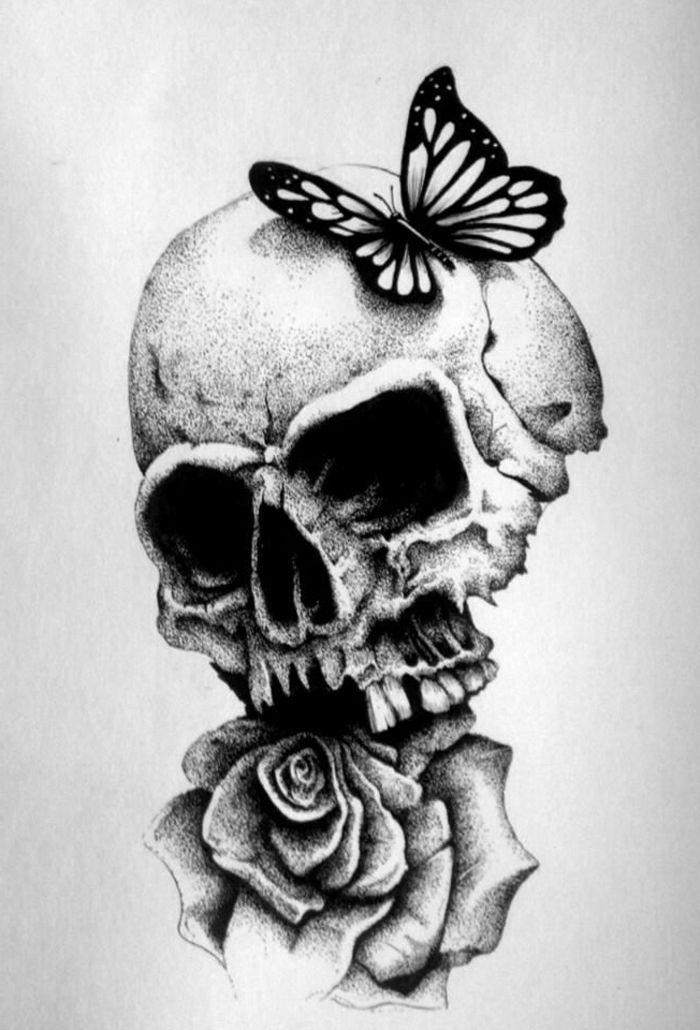 1001 photos de dessin noir et blanc qui vont vous aider am liorer votre technique comment - Dessiner une tete de mort ...