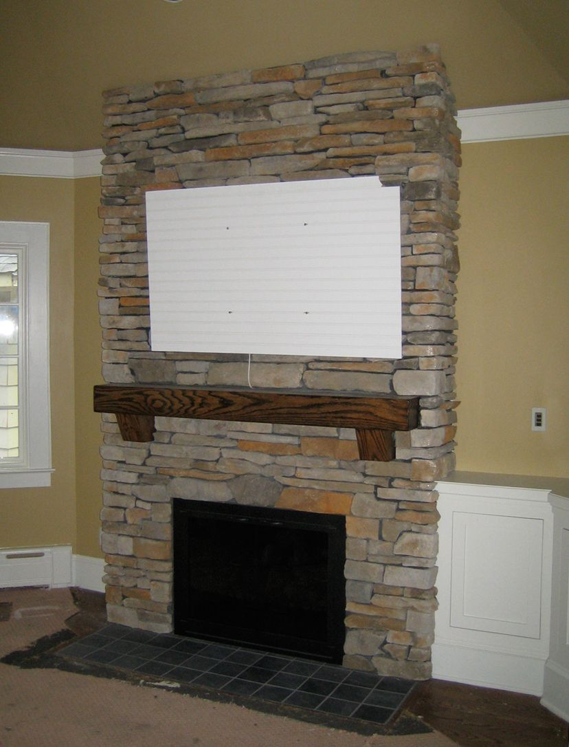 Stacked Stone Fireplace Surround brick fireplace pictures |  veneers and space for a flat screen
