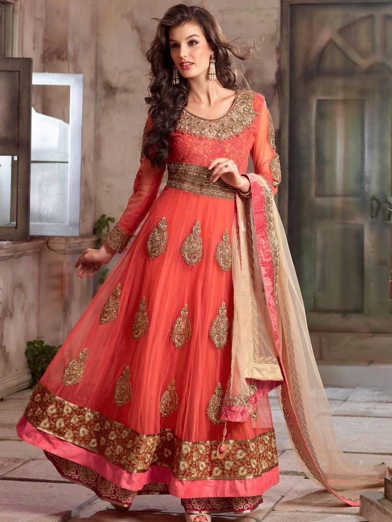 Orange embroidered net semi stitched salwar with dupatta | Indian ...