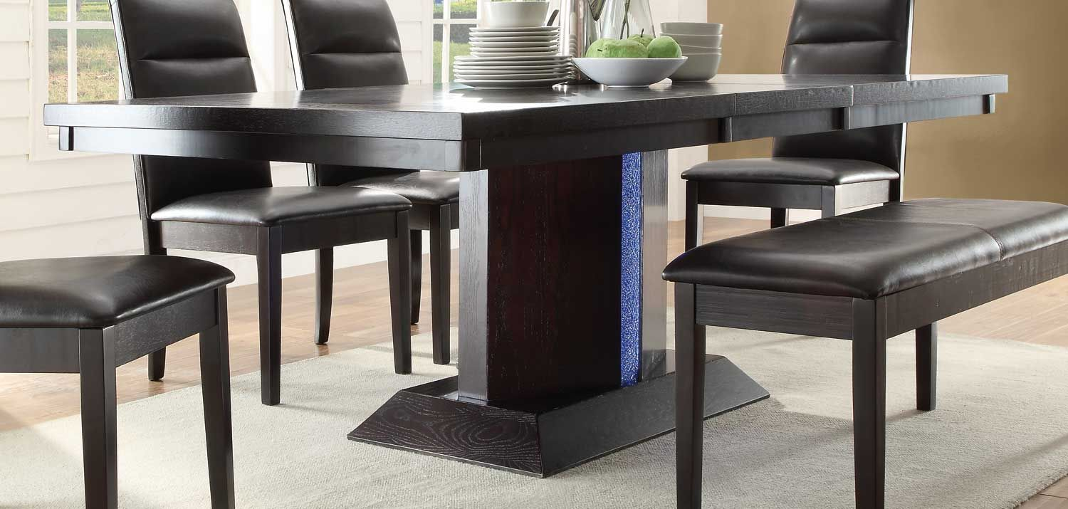 Homelegance Pulse Dining Table With Led Light Espresso Dining