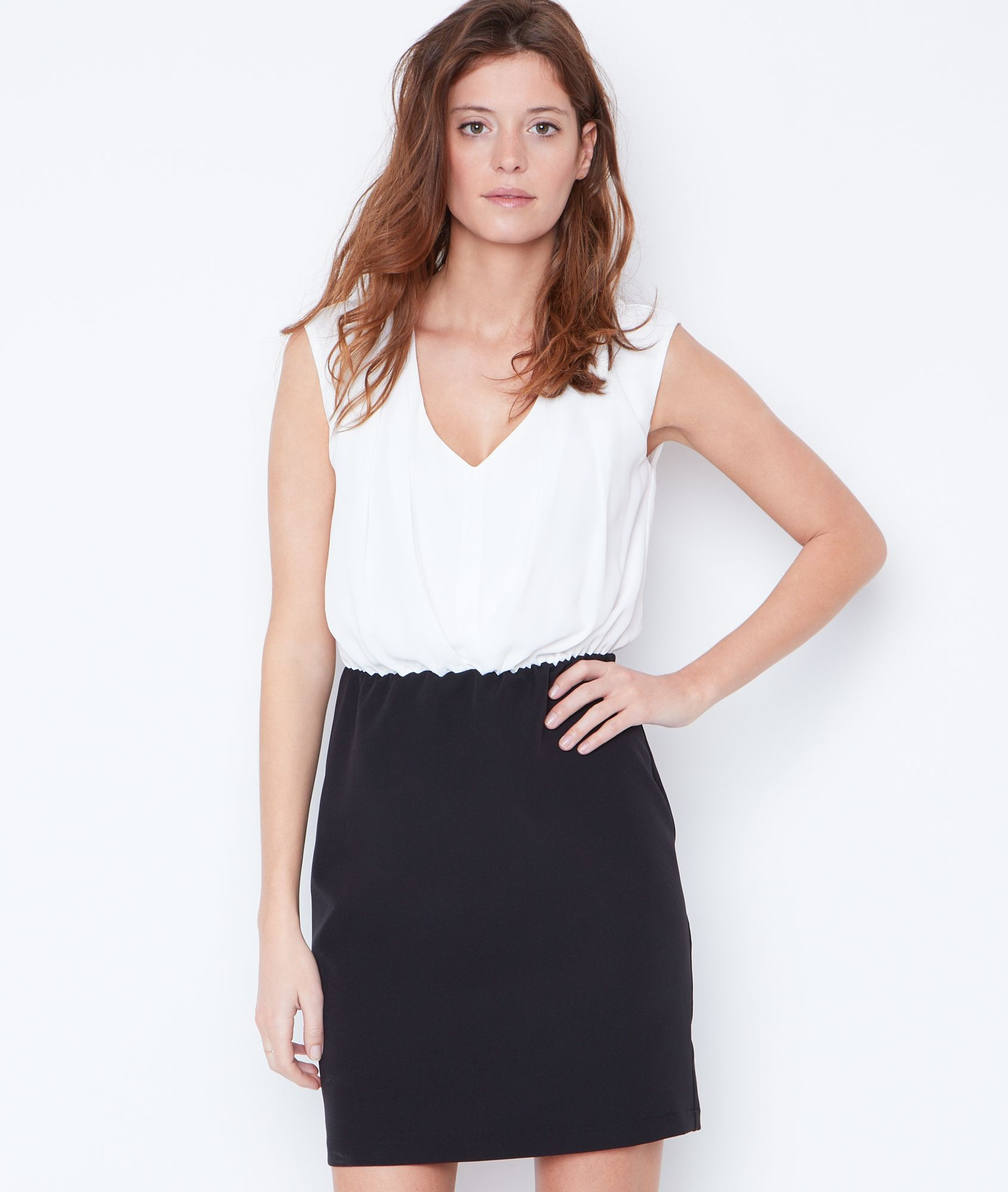 Robe ajustée bicolore - COLIE - BLANC - Etam