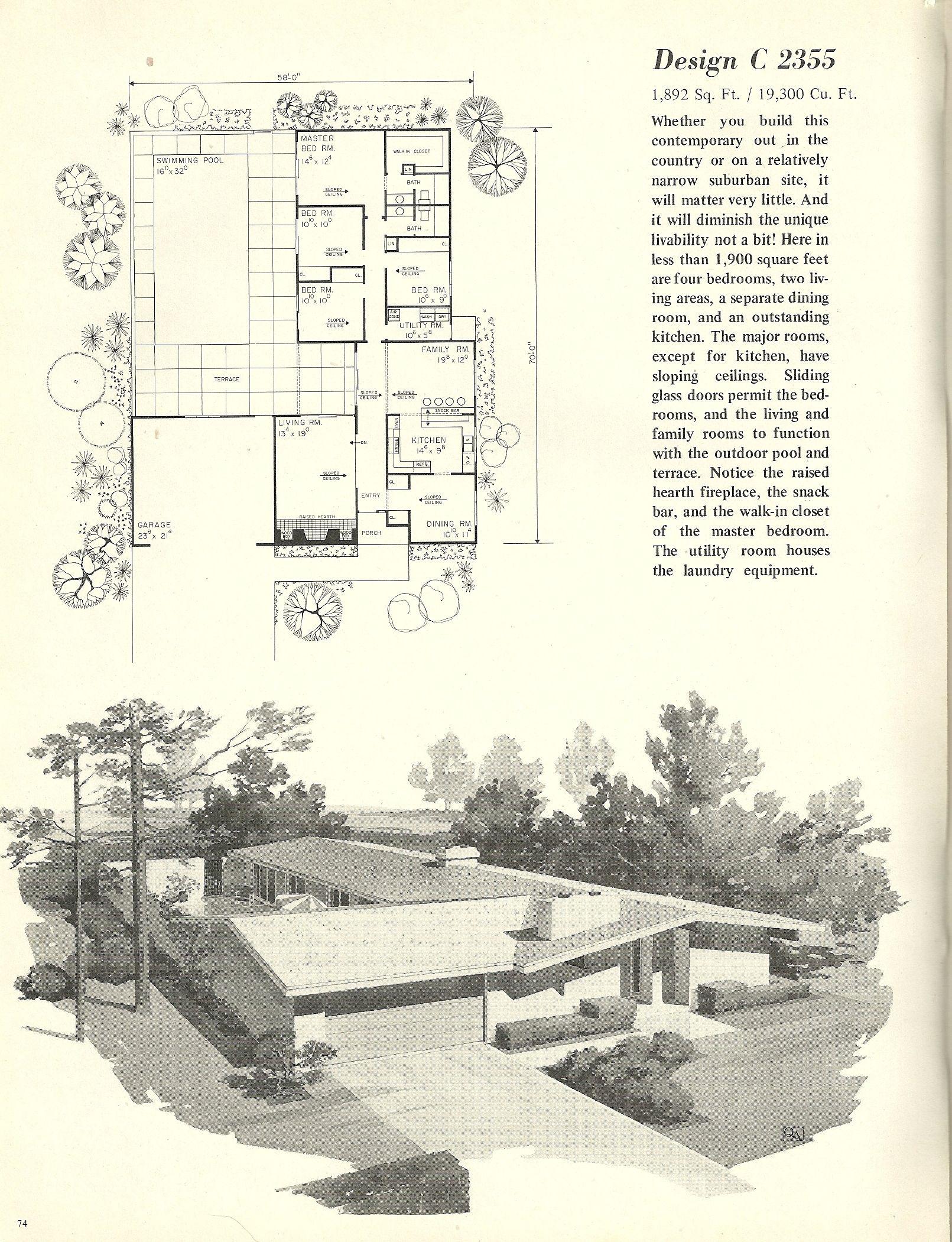 Vintage House Plans 2355 Mid Century Modern House Mid Century Modern House Plans Vintage House Plans
