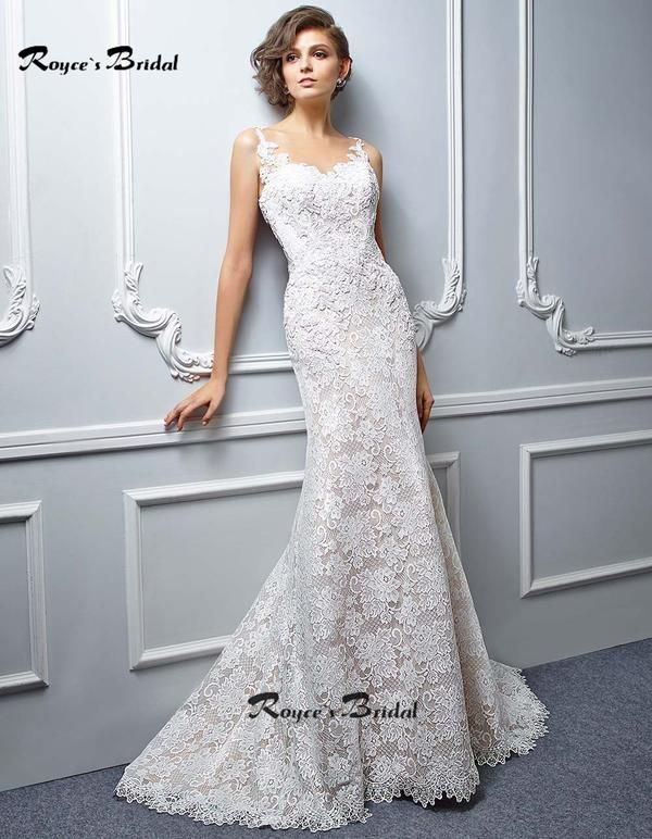 Amazing Sheer Neck Lace Mermaid Wedding Gowns with Illusion Back ...