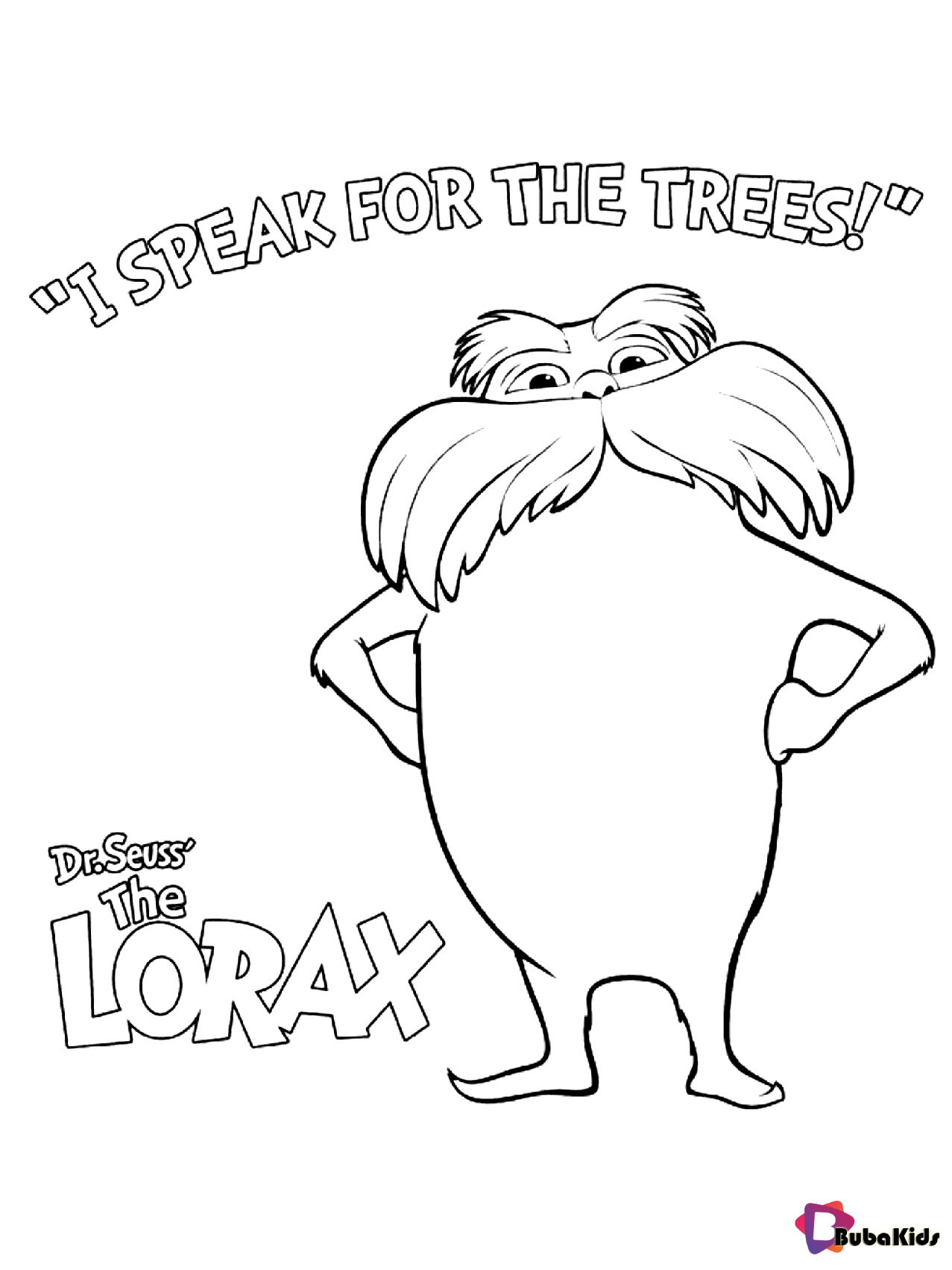 Dr seuss The Lorax I speak for the trees coloring pages in