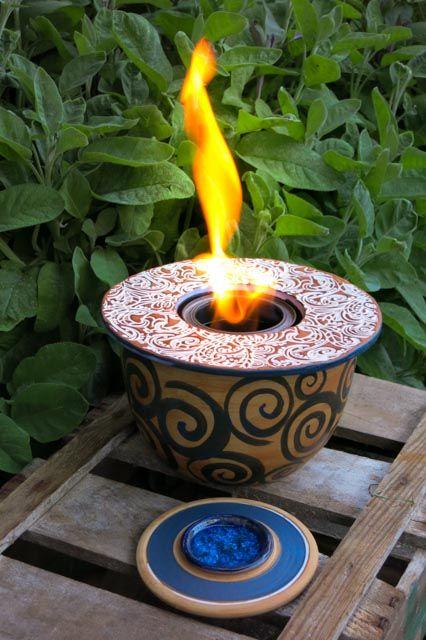 Tischfeuer, Feuerschale, Feuerstelle, Garten, Keramik,Gartendeko