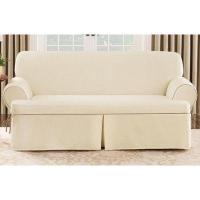 Sure Fit Cotton Duck Sofa T Cushion Slipcover Reviews Wayfair